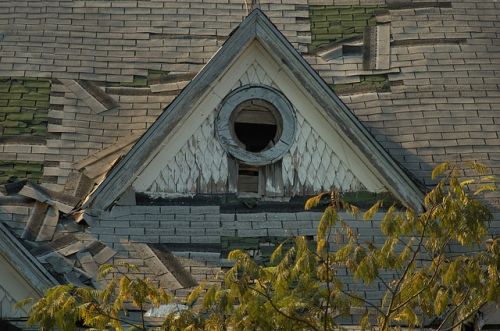 Tignall GA Wilkes County Folk Victorian Home Abandonment Shingle Dormer with Porthole Window Photograph Copyright Brian Brown Vanishing North Georgia USA 2014