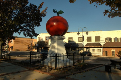 Big Red Apple Statue Monument Cornelia GA Habersham County Icon Photograph Copyright Brian Brown Vanishing North Georgia USA 2014