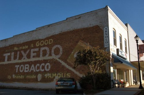 Cornelia GA Habersham County Tuxedo Tobacco Mural Arnold Drug Company Photograph Copyright Brian Brown Vanishing North Georgia USA 2014