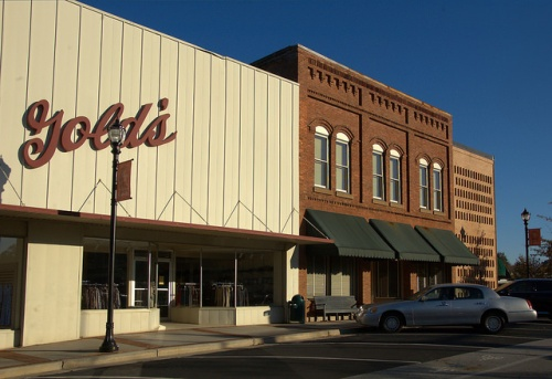 Downtown Cornelia GA Habersham County Gold's Store Irvin Street Photograph Copyright Brian Brown Vanishing North Georgia USA 2014