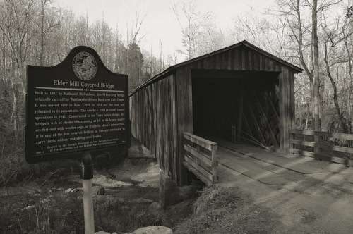 Elder Mill Covered Bridge Oconee County GA Historic Landmark Photograph Copyright Brian Brown Vanishing North Georgia USA 2014