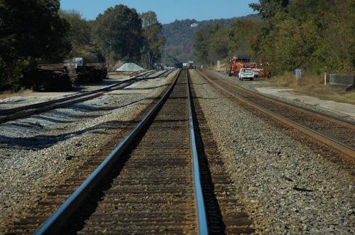 Railroad Tracks at the Amtrak Station in Toccoa GA Stephens County Photograph Copyright Brian Brown Vanishing North Georgia USA 2014