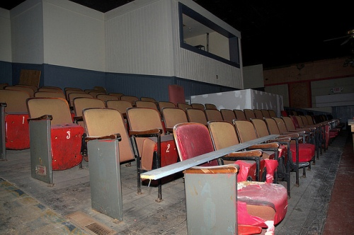 Schaefer Center Old Theatre Toccoa GA Under Restoration Balcony Projectionists Booth Photograph Copyright Brian Brown Vanishing North Georgia USA 2014