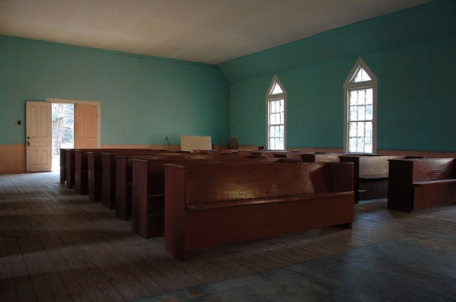 Historic Antioch Baptist Church Taliaferro County GA Interior Blue Walls Endangered Rural Architecture Photograph Copyright Brian Brown Vanishing Northh Georgia USA 2014