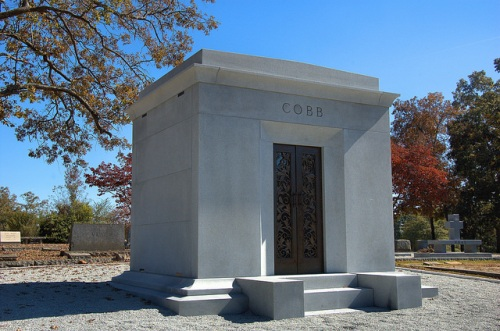 Tyrus Raymond Ty Cobb Greatest Baseball Player of All Time Mausoleum Grave Final Resting Place Rose Hill Cemetery Royston GA Franklin County Photograph Copyright Brian Brown Vanishing North Georgia USA 2014