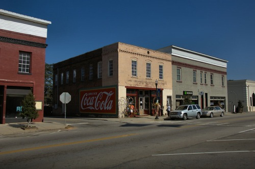 Warrenton GA Warren County Downtown Main Street Restore Coca Cola Mural Americana Photograph Copyright Brian Brown Vanishing North Georgia USA 2014