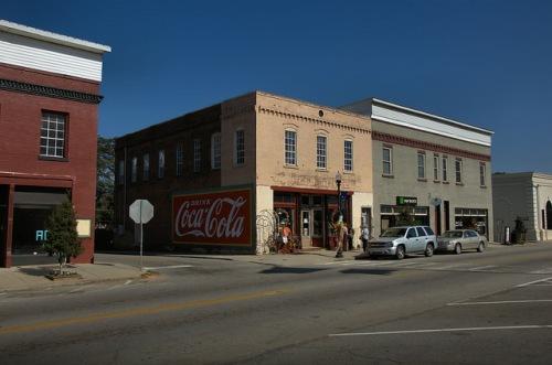 Warrenton GA Warren County Downtown Main Street Restore Coca Cola Mural Americana Photograph Copyright Brian Brown Vanishing North Georgia USA 2014