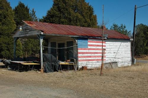Baldwin County GA Country Store Black Springs Community Patriotic American Flag Mural Photograph Copyright Brian Brown Vanishing North Georgia USA 2014