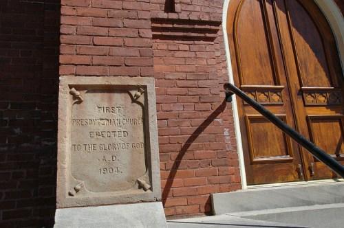 First Presbyterian Church Milledgeville GA Cornerstone Photograph Copyright Brian Brown Vanishing North Georgia USA 2014