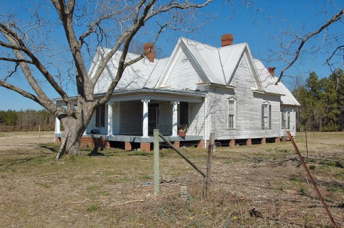 Hancock County GA Highway 22 Neoclassical Architecture Clapboard Farm House Double Gables Photograph Copyright Brian Brown Vanishing North Georgia USA 2014