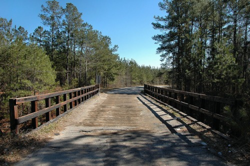 Hancock County GA Wooden Bridge over CSX Rail Line Water Works Road Photograph Copyright Brian Brown Vanishing North Georgia USA 2014