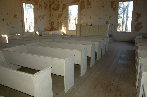 Historic Mt Zion Presbyterian Church Hancock County GA Pews Photograph Copyright Brian Brown Vanishing North Georgia USA 2014