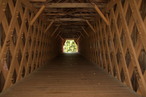 Auchumpkee Creek Covered Bridge Interior Town Lattice Truss Upson County GA National Register of Historic Places Reconstruction Photograph Copyright Brian Brown Vanishing North Georgia USA 2014