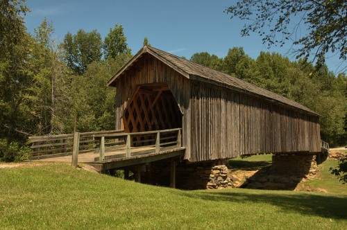 Auchumpkee Creek Covered Bridge Upson County GA National Register of Historic Places Reconstruction Photograph Copyright Brian Brown Vanishing North Georgia USA 2014