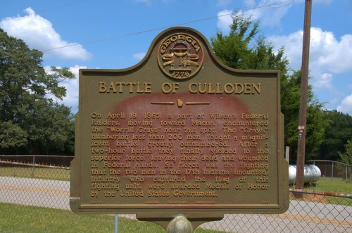 Battle of Culloden GA Civil War Historic Marker Wilsons Raiders Photograph Copyright Brian Brown Vanishing North Georgia USA 2014