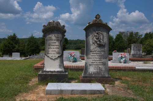 Culloden GA City Cemetery Headstones of John and Mary Sneed Photograph Copyright Brian Brown Vanishing North Georgia USA 2014