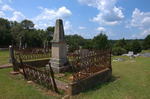 Culloden GA City Cemetery Obelisk Headstone of Reverend Robert Flournoy Photograph Copyright Brian Brown Vanishing North Georgia USA 2014