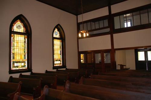Culloden United Methodist Church Monroe County GA Interior Stained Glass Balcony Rooms Photograph Copyright Brian Brown Vanishing North Georgia USA 2014