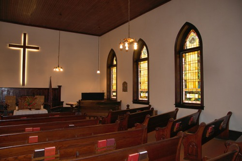Culloden United Methodist Church Monroe County GA Interior Stained Glass Pews Photograph Copyright Brian Brown Vanishing North Georgia USA 2014