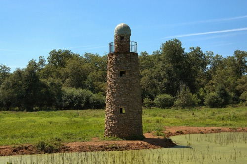 Fieldstone Lighthouse on Pond Near Yatesville GA Upson County Curiosity Landmark Photograph Copyright Brian Brown Vanishing North Georgia USA 2014