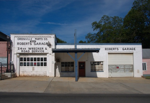 Roberts Garage Greenville GA Meriwether County Historic Downtown Photograph Copyright Brian Brown Vanishing North Georgia USA 2014