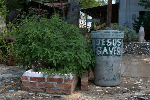 Paradise Garden Summerville GA Folk Artist Outsider Art Howard Finster Jesus Saves Garbage Can Pineapple Sage National Regsiter of Historic Places Photograph copyright Brian Brown Vanishing North Georgia USA 2014