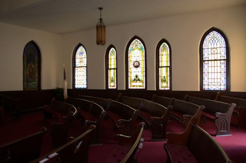 Bowdon United Methodist Church Carroll County GA Interior Curved Pews Stained Glass Photograph Copyright Brian Brown Vanishing North Georgia USA 2014