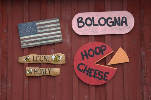 Fosters Mill Store Floyd County GA Wooden Signs Hoop Cheese Bologna Photograph Copyright Brian Brown Vanishing North Georgia USA 2014