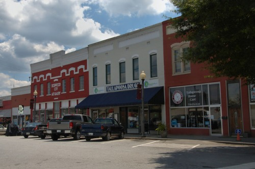 Tallapoosa GA Haralson County Alabama Street Storefronts Photograph Copyright Brian Brown Vanishing North Georgia USA 2014