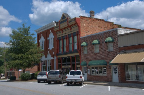 Tallapoosa GA Historic Downtown Storefronts Head Avenue Photograph Copyright Brian Brown Vanishing North Georgia USA 2014