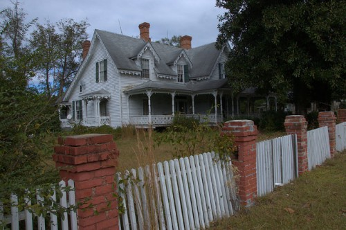 Jewell GA Warren County Gothic Revival House Picket Fence Photograph Copyright Brian Brown Vanishing North Georgia USA 2014