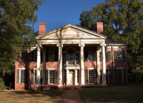 Milledgeville GA Baldwin County Neoclassical Revival Brick House Photograph Copyright Brian Brown Vanishing North Georgia USA 2014