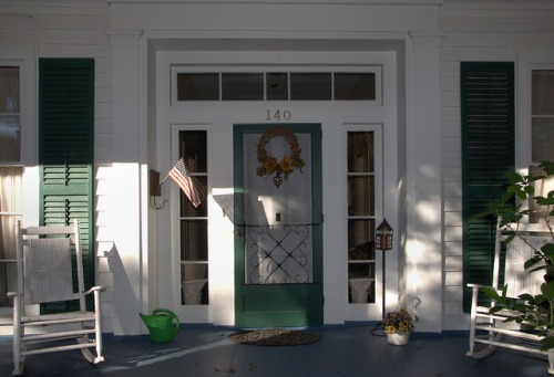 Milledgeville GA Baldwin County Old Parsonage Front Porch Photograph Copyright Brian Brown Vanishing North Georgia USA 2014