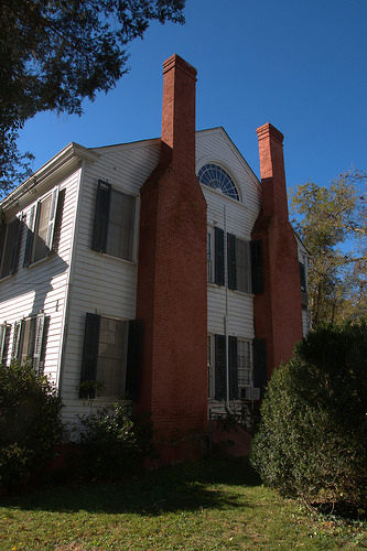 Milledgeville GA Baldwin County Williams Orme Sallee House Antebellum Double Chimneys Fanlight Photograph Copyright Brian Brown Vanishing North Georgia USA 2014