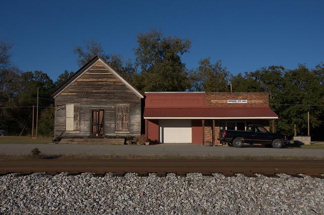 Norwood GA Warren County Historic Commercial Storefronts City Hall Railroad Tracks Photograph Copyright Brian Brown Vanishing North Georgia USA 2014