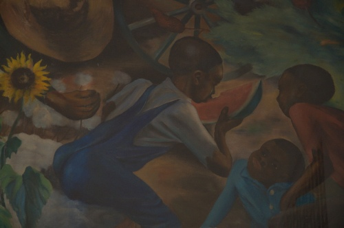 Greensboro GA New Deal US Post Office Mural African American Black Children Eating Watermelons Sunflowers Photograph Copyright Brian Bown Vanishing North Georgia USA 2014