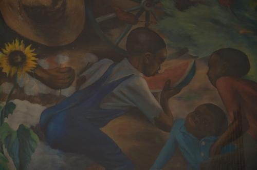 Greensboro GA New Deal US Post Office Mural African American Black Children Eating Watermelons Sunflowers Photograph Copyright Brian Bown Vanishing North Georgia USA 2014