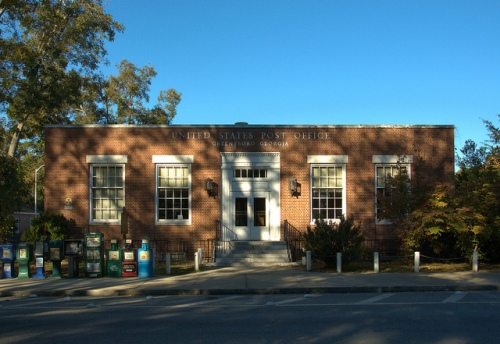 Greensboro GA US Post Office New Deal WPA Photograph Copyright Brian Brown Vanishing North Georgia USA 2014