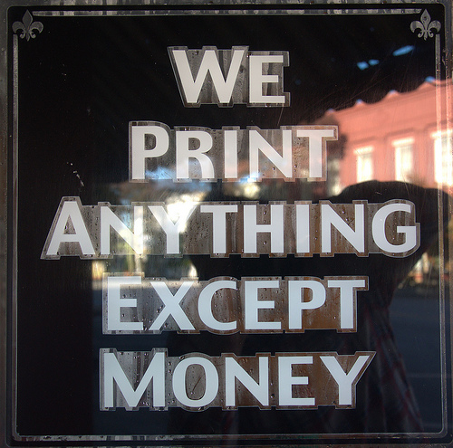 Greensboro Herald Journal Newspaper Window Sign We Print Anything Except Money Photograph Copyright Brian Brown Vanishing North Georgia USA 2014