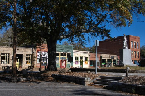 Lexington GA Main Street Historic Commercial Storefronts from Courthouse Lawn Photograph Copyright Brian Brown Vanishing North Georgia USA 2015