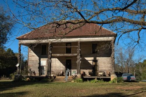 Philomath GA Oglethorpe County House with Tree Trunk Columns Bryan Wolfe Photograph Copyright Brian Brown Vanishing North Georgia USA 2014