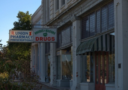 Union Point GA Greene County Historic Storefronts Drug Stores Photograph Copyright Brian Brown Vanishing North Georgia USA 2015
