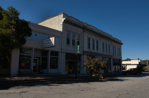 Union Point GA Historic District Commercial Storefronts Photograph Copyright Brian Brown Vanishing North Georgia USA 2015