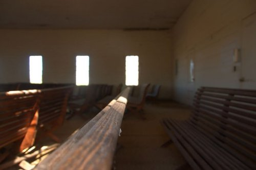 Concord Baptist Church Jasper County GA Slat Back Pews Photograph Copyright Brian Brown Vanishing North Georgia USA 2015