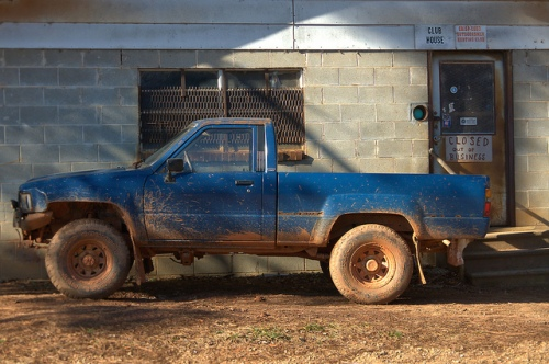 Crisp Coed Hunting Club Meriwether GA Baldwin County Mud Toyota Pickup Truck 1990s Photograph Copyright Brian Brown Vanishing North Georgia USA 2015