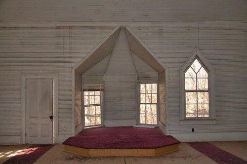 Hopewell Baptist Church Jasper Couty GA Pulpit Photograph Copyright Brian Brown Vanishing North Georgia USA 2015