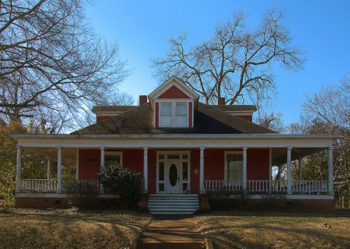 Monticello GA Red Colonial Revival House Photograph Copyright Brian Brown Vanishing North Georgia USA 2015