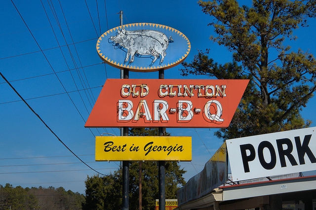 Old Clinton BarBQ Restaurant Gray GA Old Clinton Community Jones County Neon Sign Pig Best in Georgia Photograph Copyright Brian Brown Vanishing North Georgia USA 2015