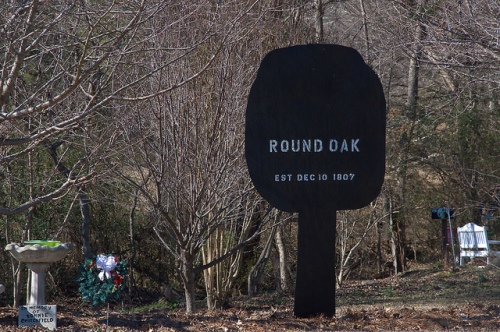 Round Oak GA Jones County Cutout Sign Photograph Copyright Brian Brown Vanishing North Georgia USA 2015