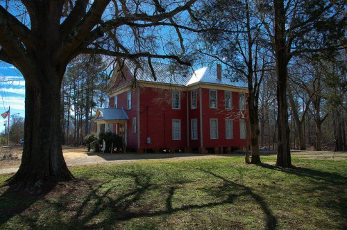 Apalachee GA School House Red Clapboard Photograph Copyright Brian Brown Vanishing North Georgia USA 2015